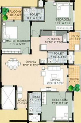 Ksr Crimson Tide (3BHK+3T (1,517 sq ft) Apartment 1517 sq ft)