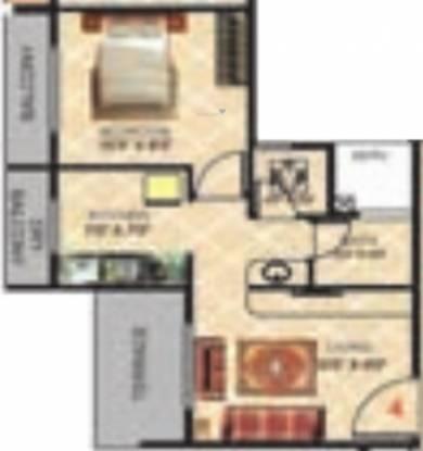 Gami Radha Krishna Complex (1BHK+1T (711 sq ft) Apartment 711 sq ft)
