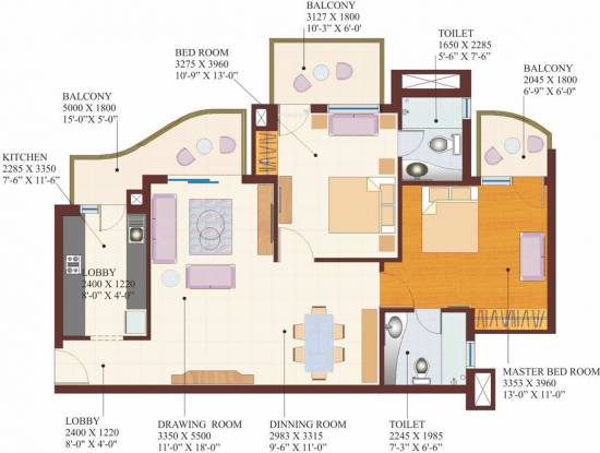 M2K County Heights (2BHK+2T (1,375 sq ft) Apartment 1375 sq ft)