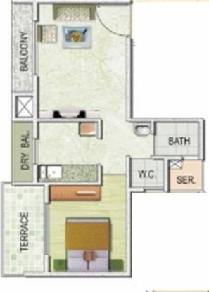 Monarch Imperial (1BHK+1T (690 sq ft) Apartment 690 sq ft)