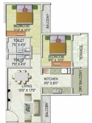 Monarch Imperial (2BHK+2T (1,080 sq ft) Apartment 1080 sq ft)