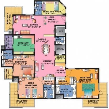 Sahara Grace (3BHK+3T (3,560 sq ft)   Study Room Apartment 3560 sq ft)