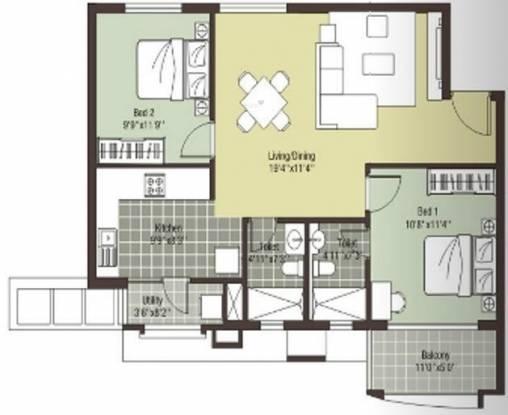 Arihant Escapade (2BHK+2T (1,024 sq ft) Apartment 1024 sq ft)