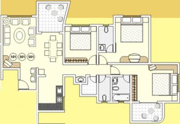 Tejas Elysian Apartment (3BHK+3T (1,622 sq ft) Apartment 1622 sq ft)