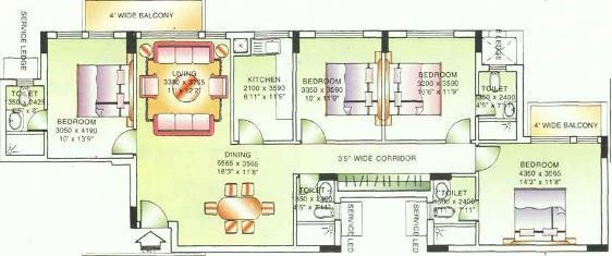 DLF Beverly Park (4BHK+4T (1,696 sq ft) Apartment 1696 sq ft)