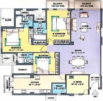 DLF Trinity Towers (3BHK+4T (2,210 sq ft) + Servant Room Apartment 2210 sq ft)