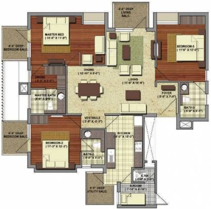 Conscient Heritage One (3BHK+4T (1,890 sq ft) + Servant Room Apartment 1890 sq ft)