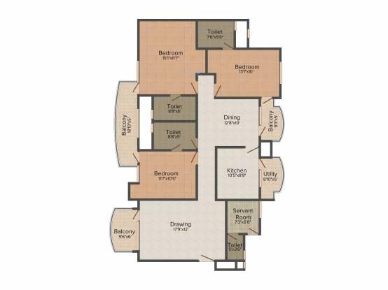 Akme Raaga (3BHK+3T (1,793 sq ft)   Servant Room Apartment 1793 sq ft)