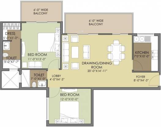 Mahendra Meadow (2BHK+2T (1,200 sq ft) Apartment 1200 sq ft)