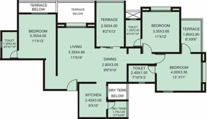 Rachana My World (3BHK+3T (1,482 sq ft) Apartment 1482 sq ft)