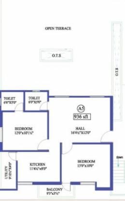 Antony Creek (2BHK+2T (936 sq ft) Apartment 936 sq ft)