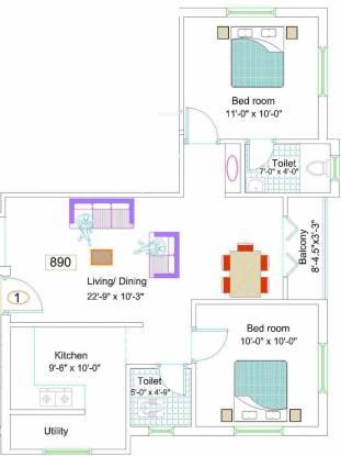 NewCrest Sai Enclave (2BHK+2T (890 sq ft) Apartment 890 sq ft)