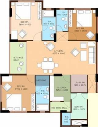 Bengal Ambition (3BHK+3T (1,480 sq ft) + Servant Room Apartment 1480 sq ft)