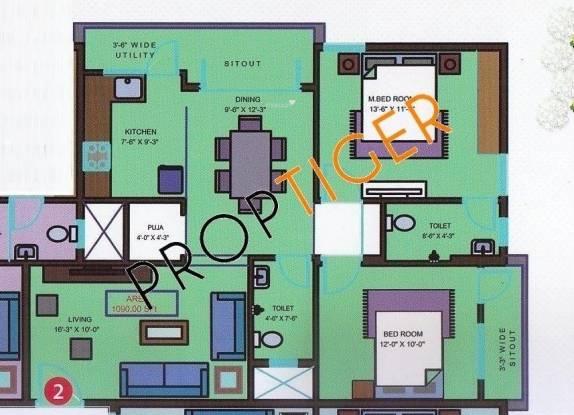 Mahaghar Sri Sai Nilayam (2BHK+2T (1,030 sq ft)   Pooja Room Apartment 1030 sq ft)