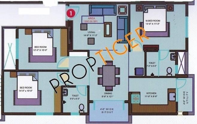 Mahaghar Sri Sai Nilayam (3BHK+2T (1,350 sq ft) Apartment 1350 sq ft)