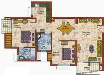 Samiah Vrinda City (2BHK+2T (1,250 sq ft) Apartment 1250 sq ft)