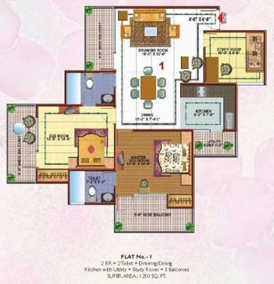 Skytech Merion Residency II (2BHK+2T (1,250 sq ft)   Study Room Apartment 1250 sq ft)