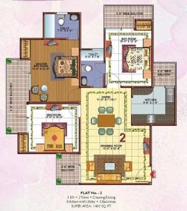 Skytech Merion Residency II (3BHK+2T (1,440 sq ft) Apartment 1440 sq ft)