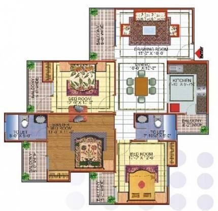 Skytech Merion Residency I (3BHK+2T (1,530 sq ft) Apartment 1530 sq ft)