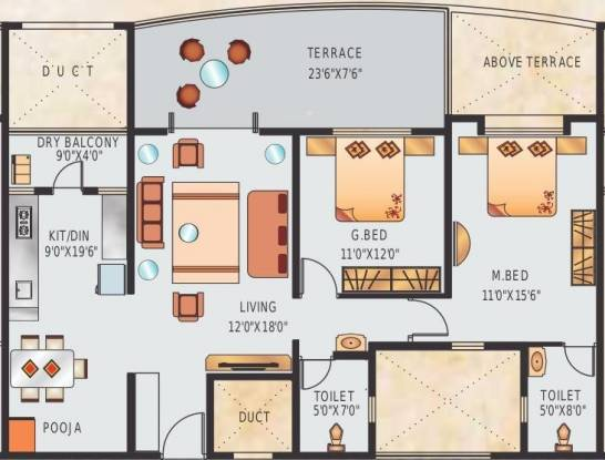 Suyog Vardhamanpura (2BHK+2T (1,195 sq ft) Apartment 1195 sq ft)