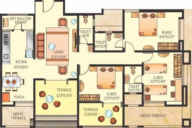 Suyog Vardhamanpura (3BHK+3T (1,460 sq ft) Apartment 1460 sq ft)
