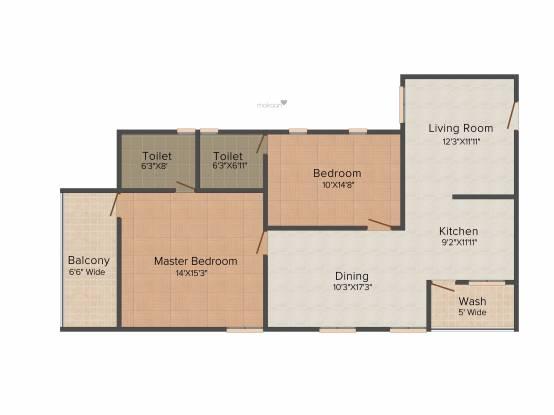 Sree Hima Sai Lake View Towers (2BHK+2T (1,380 sq ft) Apartment 1380 sq ft)
