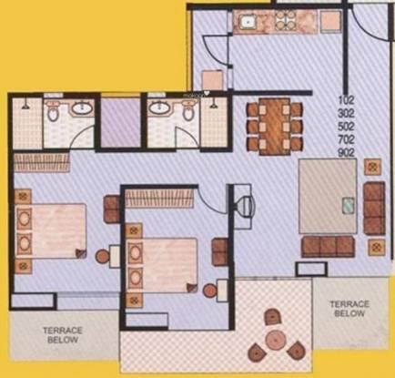 Gulmohar Orchids (2BHK+2T (1,109 sq ft) Apartment 1109 sq ft)