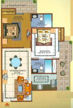 Gardenia Square (2BHK+2T (1,075 sq ft) Apartment 1075 sq ft)