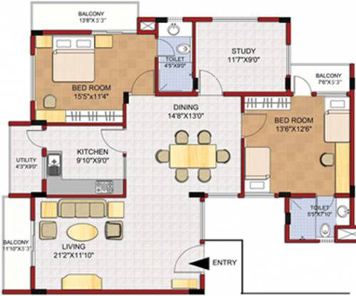 Gina RonVille (2BHK+2T (1,642 sq ft)   Study Room Apartment 1642 sq ft)