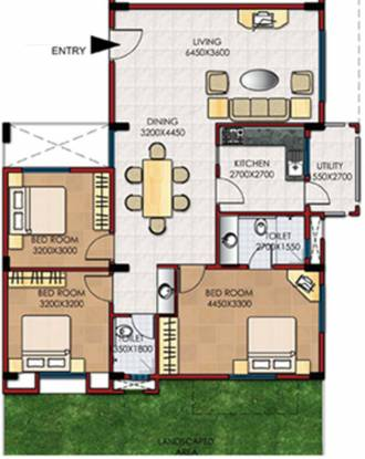 Gina RonVille (3BHK+2T (1,395 sq ft) Apartment 1395 sq ft)