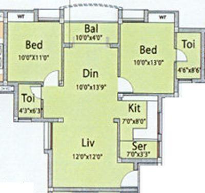 DABC Abhinayam Phase 1 (2BHK+2T (1,031 sq ft) Apartment 1031 sq ft)