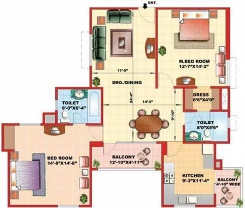 Kajaria Greens (2BHK+2T (1,474 sq ft) Apartment 1474 sq ft)