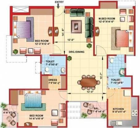 Kajaria Greens (3BHK+2T (1,596 sq ft) Apartment 1596 sq ft)