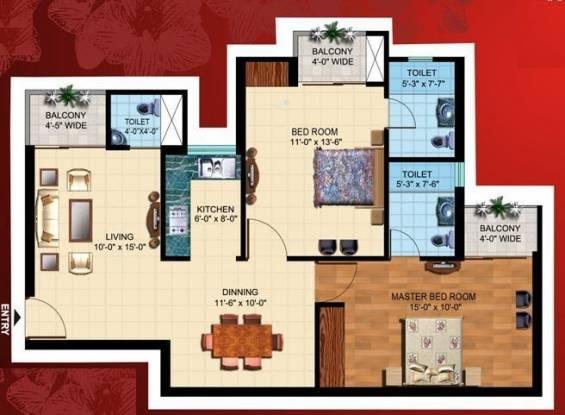 Paramount Mapple (2BHK+3T (1,120 sq ft) Apartment 1120 sq ft)