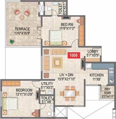 Paranjape Saptagiri (2BHK+2T (1,154 sq ft) Apartment 1154 sq ft)