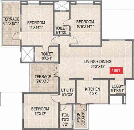 Paranjape Saptagiri (3BHK+3T (1,648 sq ft) Apartment 1648 sq ft)
