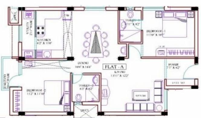 Ramaniyam Gauravv (2BHK+2T (1,100 sq ft) Apartment 1100 sq ft)