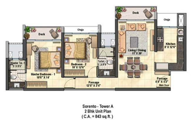 Raheja Exotica (2BHK+2T (1,285 sq ft) Apartment 1285 sq ft)