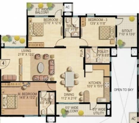 Raheja Quiescent Heights (3BHK+3T (2,195 sq ft) Apartment 2195 sq ft)