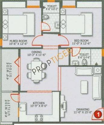 INDWIN Ecstasy (2BHK+2T (1,145 sq ft) Apartment 1145 sq ft)