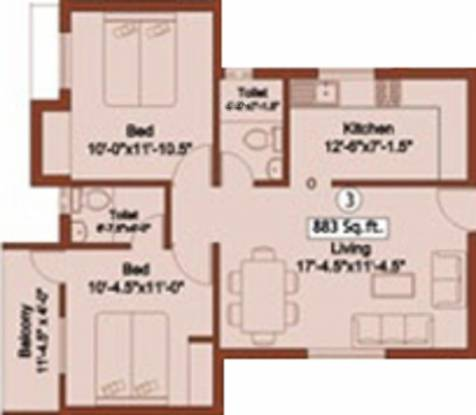 SP Radhae Shyam (2BHK+2T (883 sq ft) Apartment 883 sq ft)