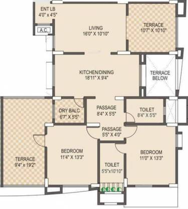 Vanshaj Kiona (2BHK+2T (1,374 sq ft) Apartment 1374 sq ft)