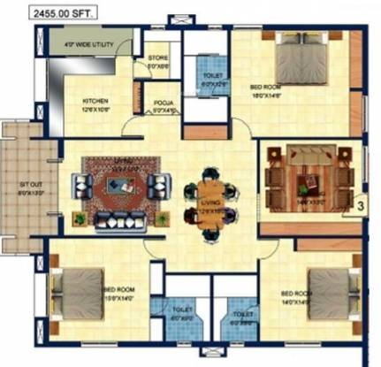 Sri Fortune Towers (3BHK+3T (2,635 sq ft)   Pooja Room Apartment 2635 sq ft)