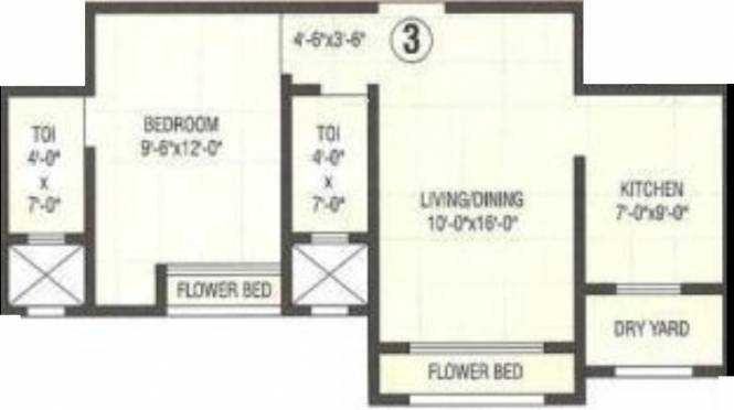 Empire Sam Residency (1BHK+1T (830 sq ft) Apartment 830 sq ft)