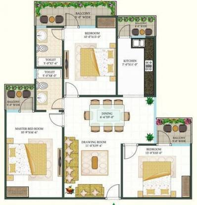 MR Shalimar City (3BHK+2T (1,638 sq ft) Apartment 1638 sq ft)