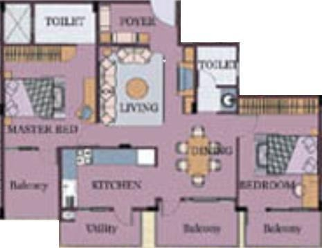 Vellara Vellara Palmyra (2BHK+2T (1,335 sq ft) Apartment 1335 sq ft)
