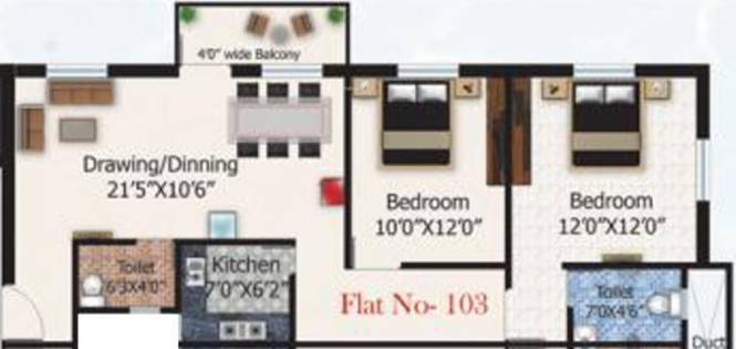 ABC Sandal Wood (2BHK+2T (600 sq ft) Apartment 600 sq ft)