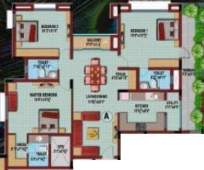 Coromandel Coral Krishna (3BHK+3T (1,855 sq ft) Apartment 1855 sq ft)