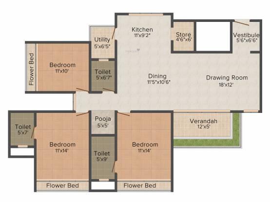 Binori Solitaire (3BHK+3T (2,214 sq ft) Apartment 2214 sq ft)