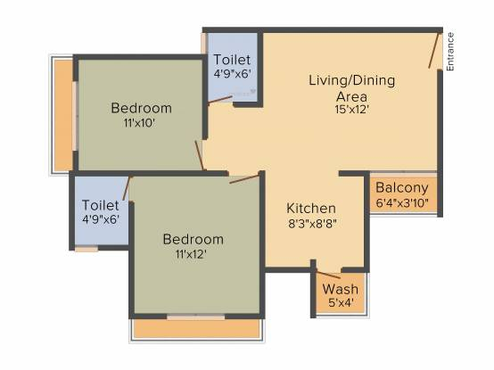 Poddar Palm Greens (2BHK+2T (1,064 sq ft) Apartment 1064 sq ft)